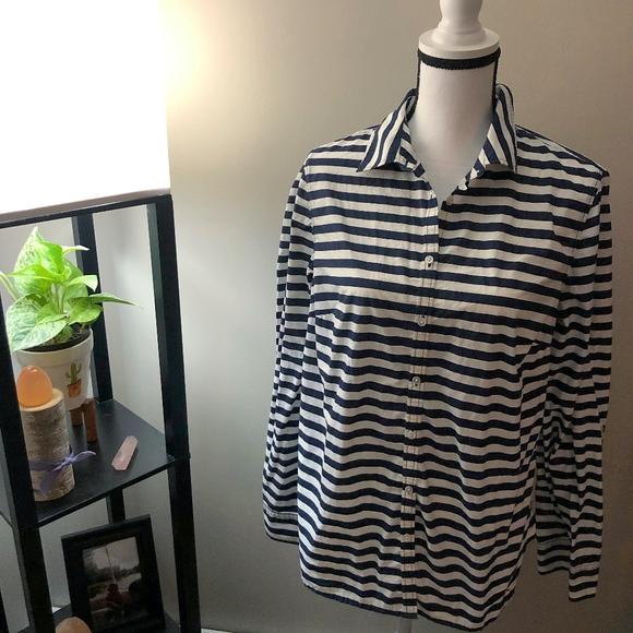 Talbots Tops - Talbots White x Blue Stripe Button Down Shirt